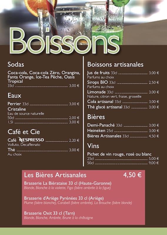 Carte des boissons snack village gaulois