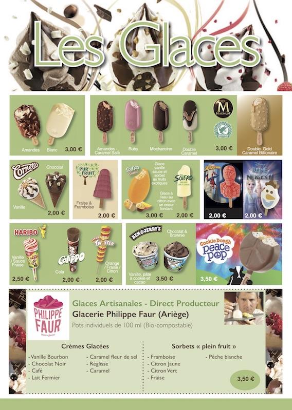 Carte des glaces snack village gaulois