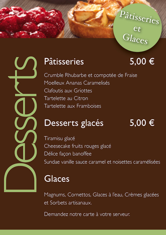Carte des desserts snack Village Gaulois