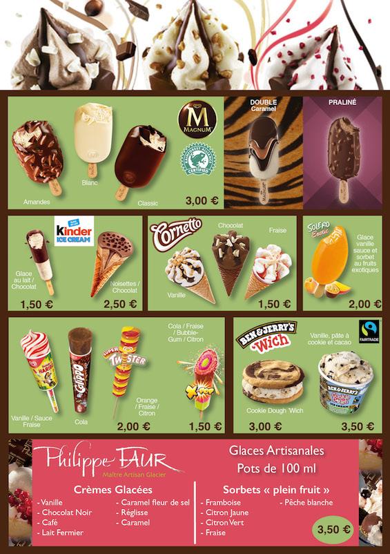 Carte des glaces